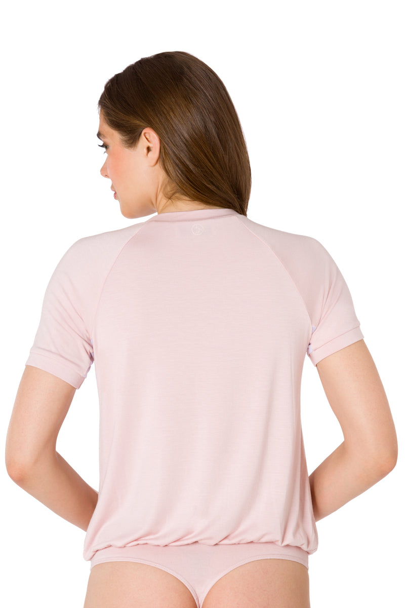 Blush-The Short Sleeve Moto Bodysuit