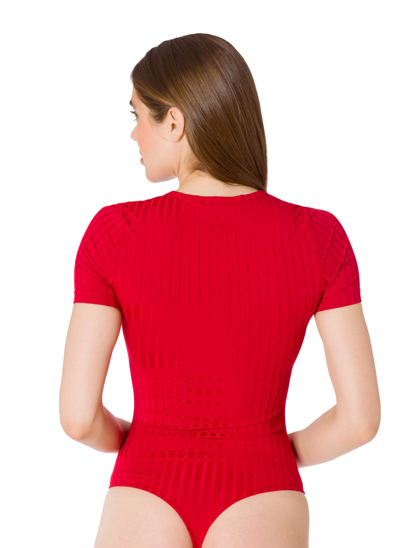 Haute Red-The Short Sleeve Henley Bodysuit