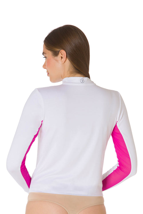 White | Fucshia-The Sportfit Equestrian Bodysuit