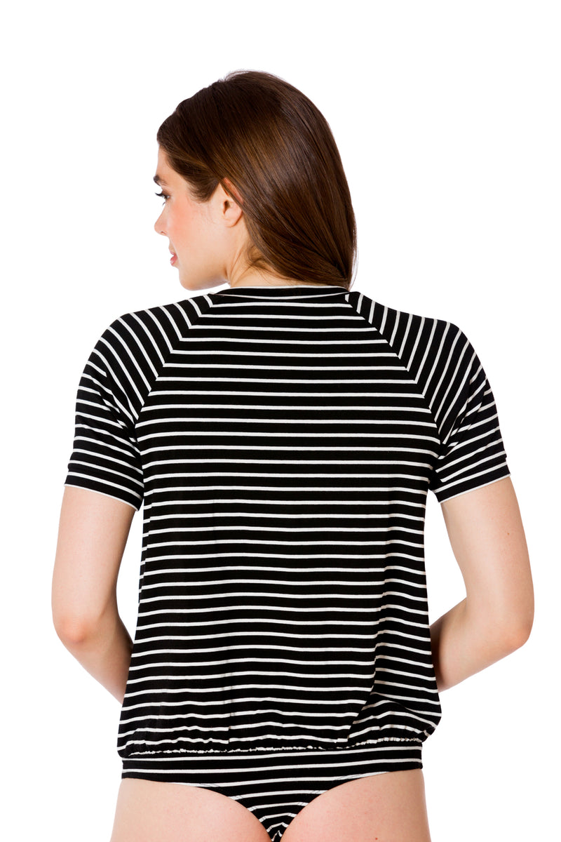 Stripe-The Short Sleeve Moto Bodysuit