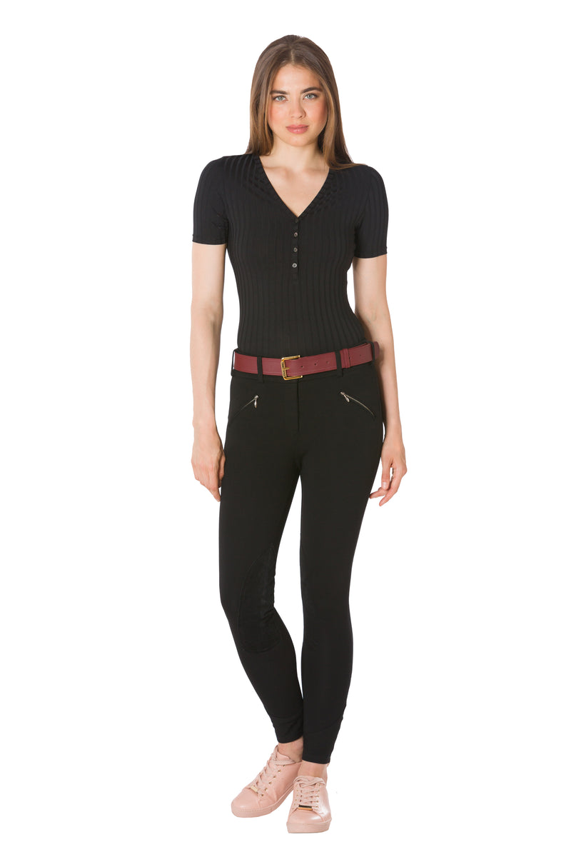 Raven-The Short Sleeve Henley Bodysuit