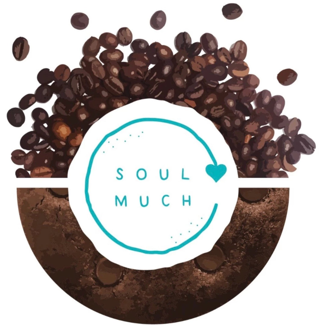 Dark Chocolate Espresso cookie with SOULMUCH logo in the center