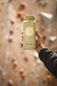 Eco Friendly Wooden Sticker on water bottle.