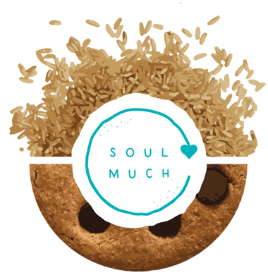 Vegan Chocolate Chip Cookie with SOULMUCH logo in the center