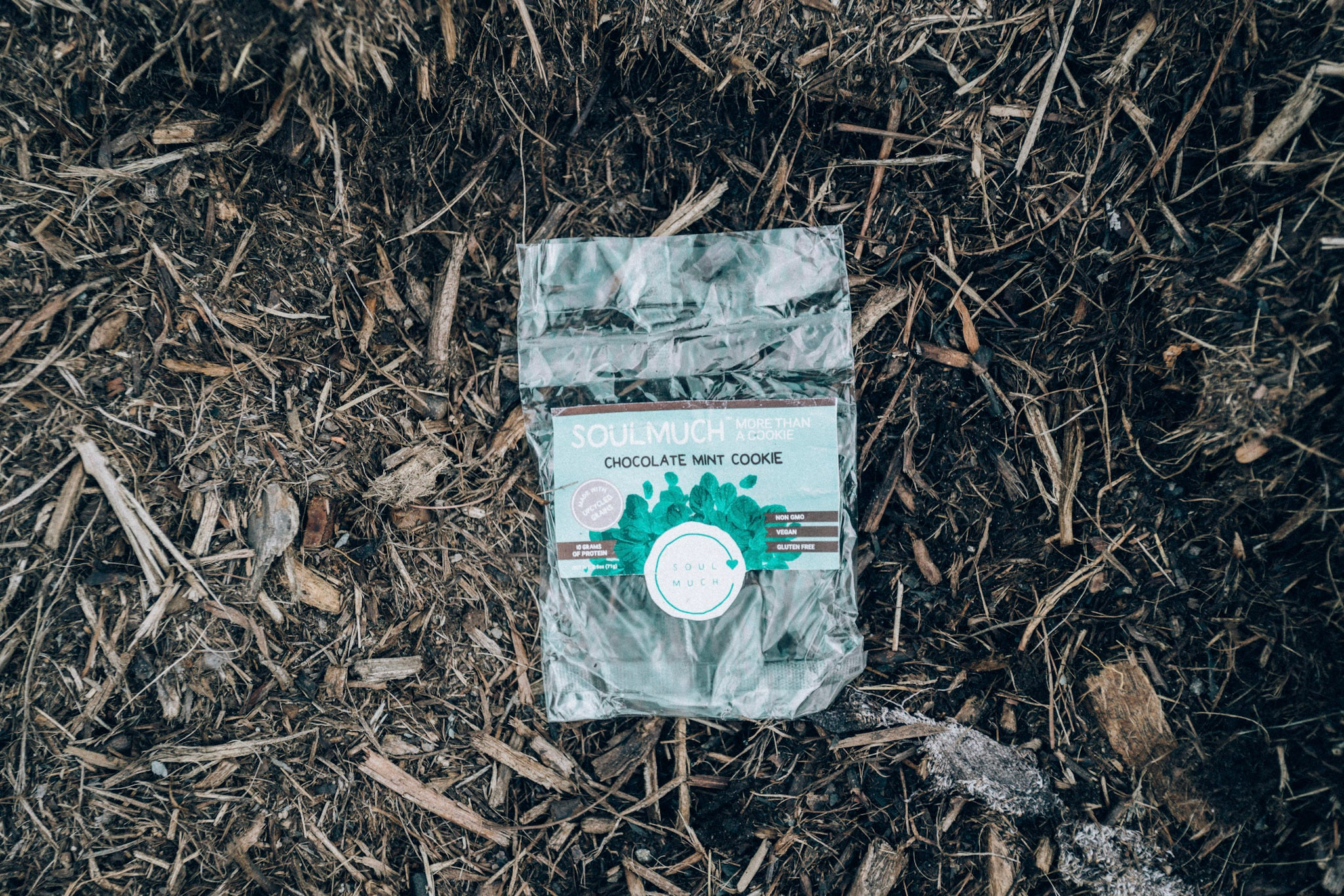 A Compostable Cookie Bag in the Ground