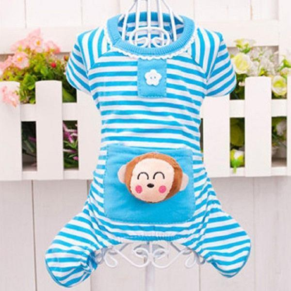 Cozy Stripes Puppy Pajamas - Blue