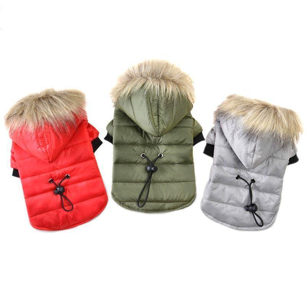 Dog Parka Coat with Furry Hoodie