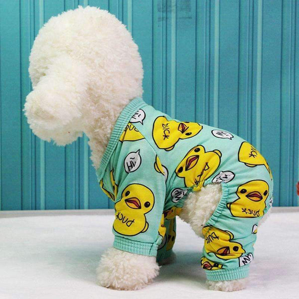 Duckies Soft Cotton Dog Pajamas - Green