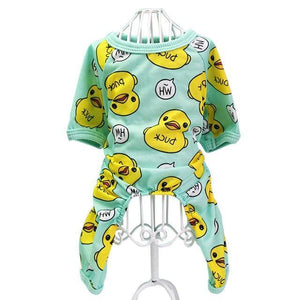 Duckies Soft Cotton Dog Pajamas - Green: Color 1 / L