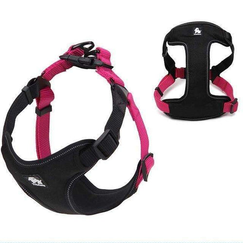 Durable Padded Reflective Harness Vest: fuchsia / L