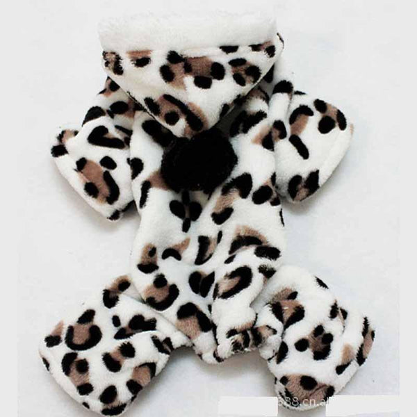 Fleece Winter Dog Pajamas - Leopard