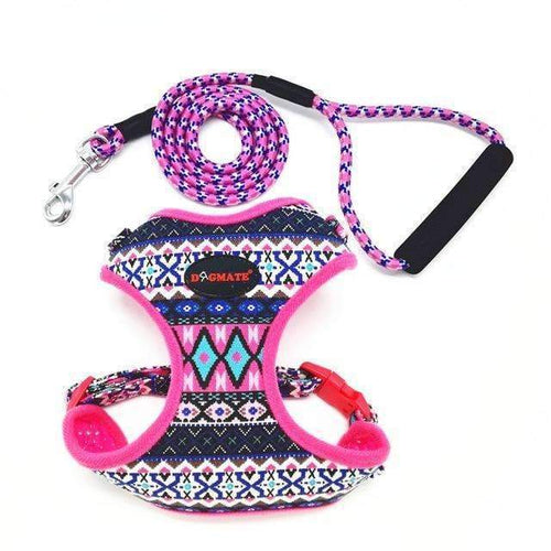 Funky Fashion Pet Dog Harness & Leash: pink / S chest 34-44cm