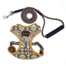 Load image into Gallery viewer, Funky Fashion Pet Dog Harness & Leash: brown / S chest 34-44cm