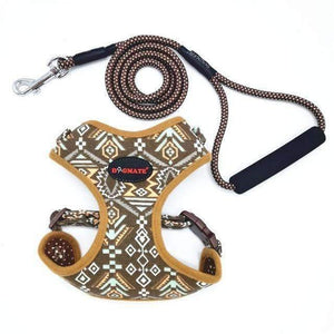 Funky Fashion Pet Dog Harness & Leash: brown / S chest 34-44cm