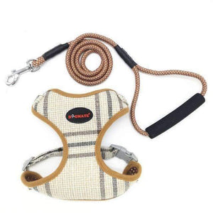 Funky Fashion Pet Dog Harness & Leash: brown plaid / S chest 34-44cm