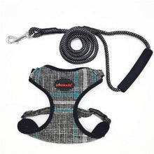 Load image into Gallery viewer, Funky Fashion Pet Dog Harness & Leash: black plaid / S chest 34-44cm