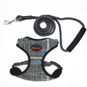 Funky Fashion Pet Dog Harness & Leash: black plaid / S chest 34-44cm