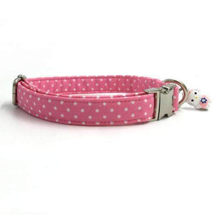 Pawz Cool Doggy Collar Pink Dots: Light Grey / XS