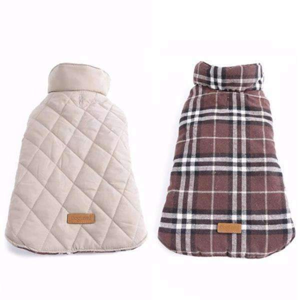 Plaid 2-sided Fashion Vest: Brown / Neck 28cm
