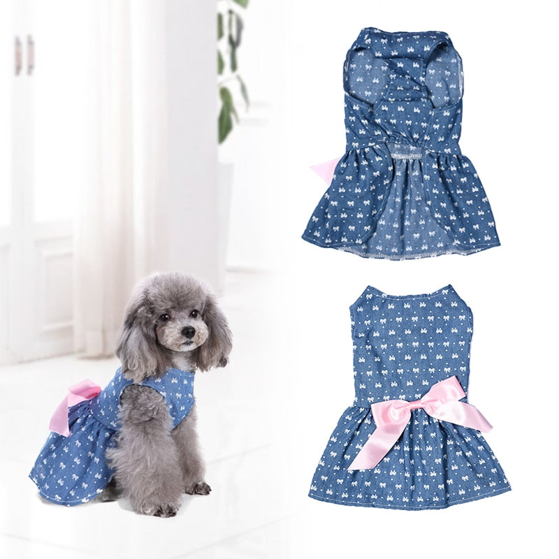 Summer Denim Dress with Bowknot
