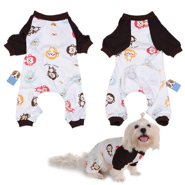 Cute Monkey Print Dog Pajamas