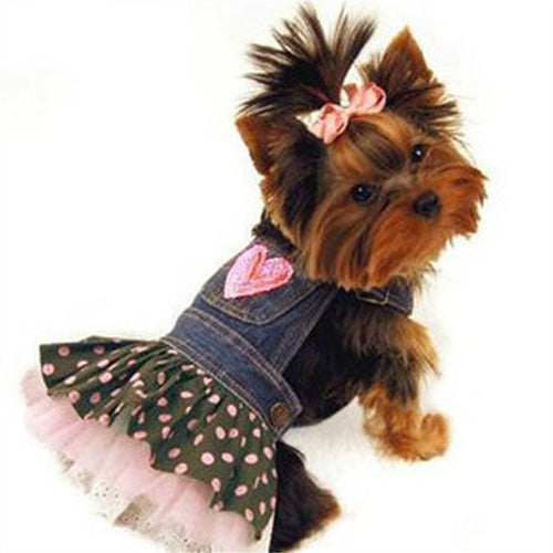 Denim Heart Dog Dress