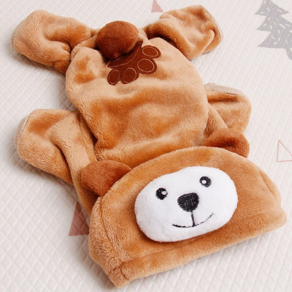 Brown Bear Dog Hooded Pajamas