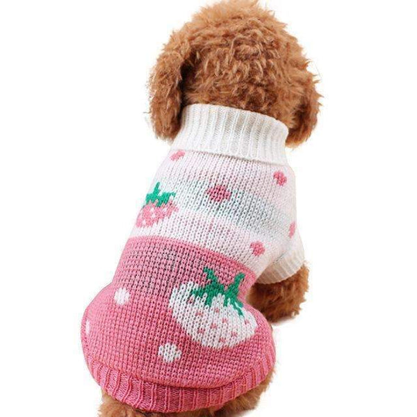 Soft Sweater For Small Dogs: White / Pink with Strawberry / L