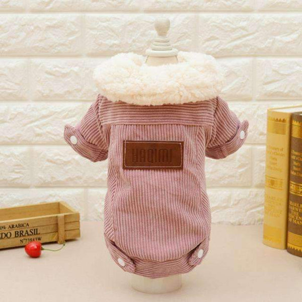 Soft Wool Padded Cotton Dog Coat: Pink / L