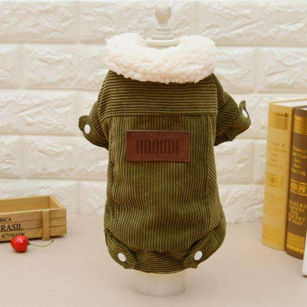 Soft Wool Padded Cotton Dog Coat: Green / L