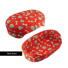 Load image into Gallery viewer, Warm Winter Dog Bed: red bones / 51x38x14cm
