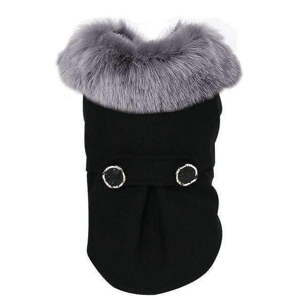 Wool Fur Winter Dog Coat: Black / L