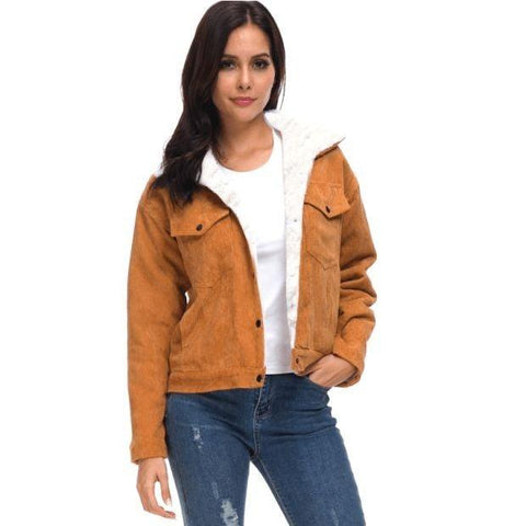 Corduroy Bomber Jacket Coat for Ladies
