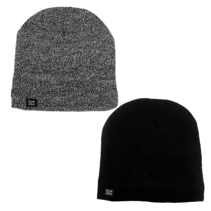 Polar Extreme Men's Fleece-Lined Insulated Thermal Knit Beanie Hats - 2 Pack