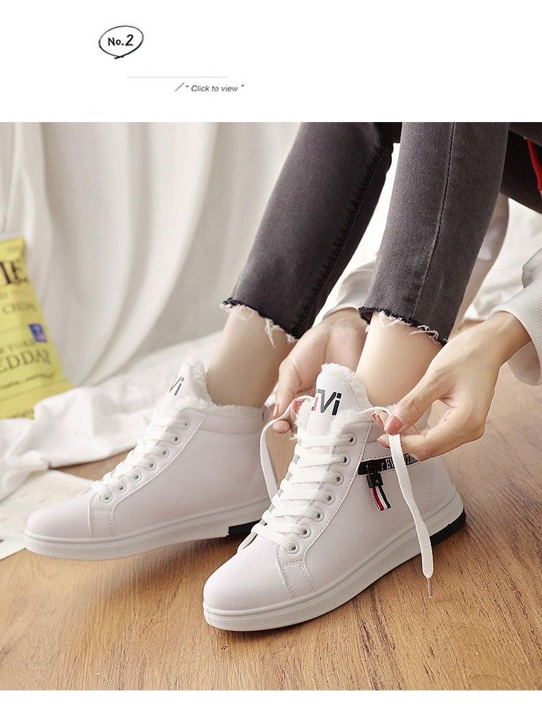 Warm Plush Padded Ankle Leather Boots for Women