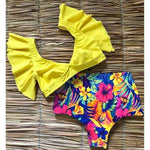 Sexy Ruffled Retro Floral Bikini Swimsuit