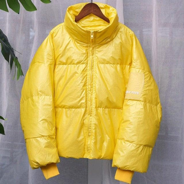 Shinny Puffer Bright Waterproof Jacket for Woman