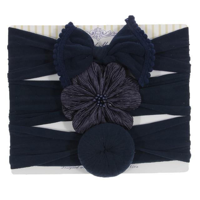 3pcs Newborn Bowknot Round Ball and Bow Head Wraps