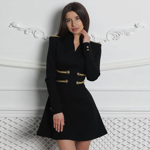 Black Military Bandage Dress for Women