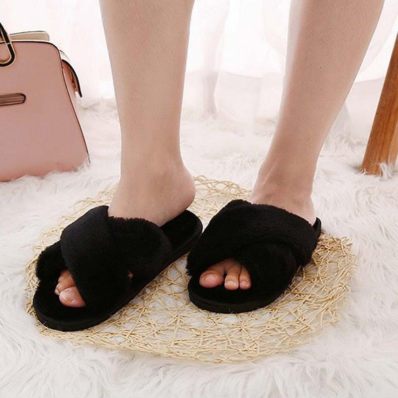 Women's Faux Fur Slippers House Shoes