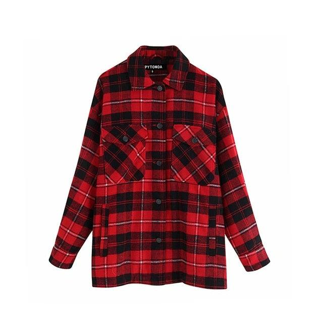 Vintage Styled Oversize Checked Jacket Top for Women