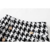 Houndstooth Double Breasted Tweed Wool Mini Skirt