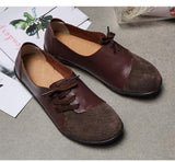 Soft Retro Genuine Leather Round Shoes for Women