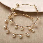Simple Plain Gold Color Pearl Hoop Earrings Fashion Big Circle Hoops Statement Earrings for Women