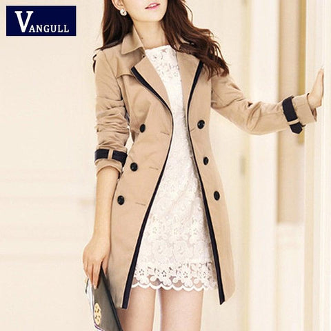 Vangull Double Breasted Trench Coat for Women