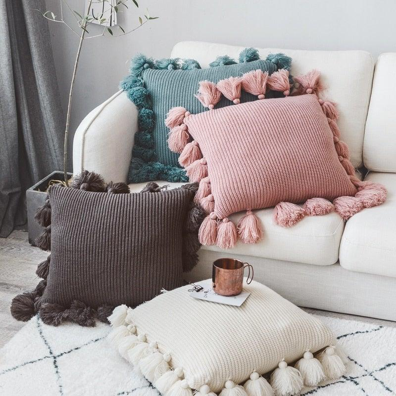 Knitted Cushion Cover Solid Pink Beige Grey Nordic Style Pillow Case With Tassle For Sofa Bed Room Home Decorative 45*45cm