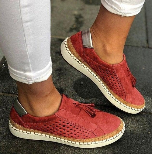 Strong Geometric Leather Zapatillas Shoes for Women