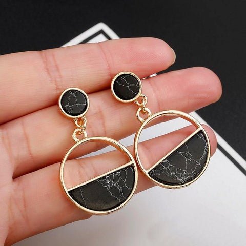 Black and White Marble Stone Geometric Hanging Earring s- Variety of Styles