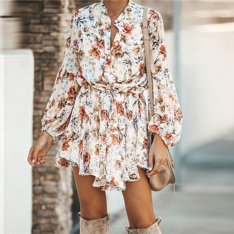 Autumn White Ruffled Mini Vintage Lantern Sleeve Dress