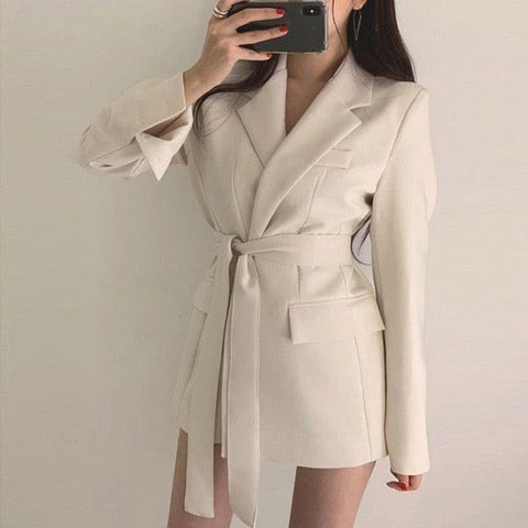 Elegant Long High Waist Tie Blazer Jacket Dress